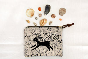 Leaping Hare Zipped Pouch