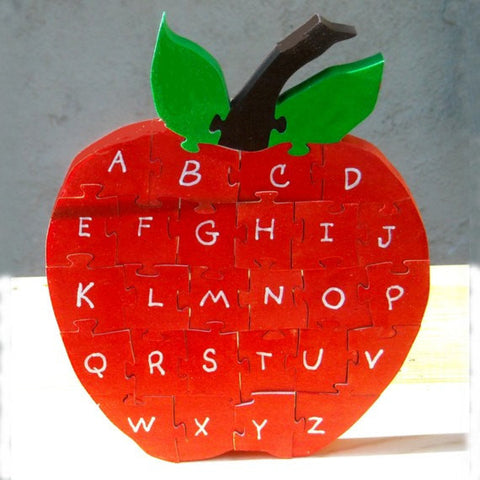 Alphabet Apple Wooden Puzzle - Handmade