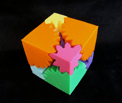 3D Printed Rotating Gear Cube Toy