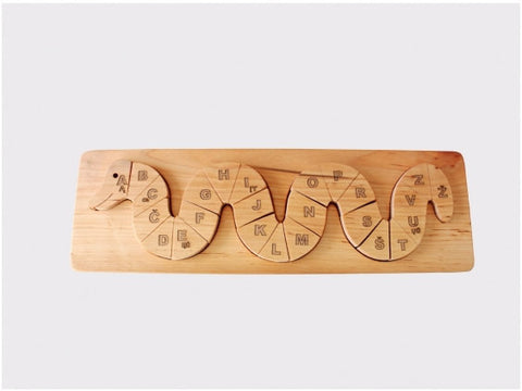 Wooden Alphabet Snake Puzzle – Handmade in Lithuania