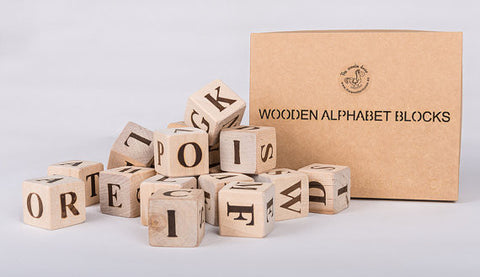 Wooden Alphabet Blocks - Handmade in Lithuania