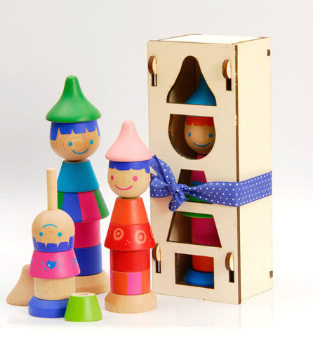 Wooden Stacking Dolls - Set of 3 - Handmade in Israel