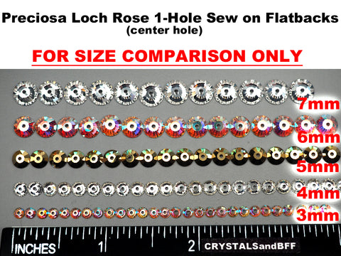 Light Siam AB, Preciosa Czech MC VIVA Loch Rose 1-hole Sew-on Stones Style #438-61-612, 4mm, 288 pieces, Red coated with Aurora Borealis, Silver Foiled, Center Hole Lochrosen