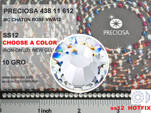 12ss HOTFIX, CHOOSE A COLOR, 1440 pieces of Preciosa VIVA Iron-on Flatbacks, Genuine Czech Crystals in size 3mm, ss12