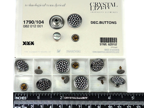 Swarovski Art.# 1790/104 - Swarovski Decorative Jeans Buttons in 17mm, Crystal Stones on Black background, Silver Brushed Casting, Nail included