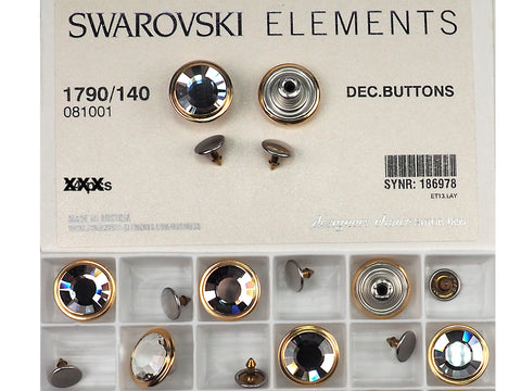 Swarovski Art.# 1790/140 - Swarovski Decorative Jeans Buttons in 17mm, Crystal Stones, Gold Brushed Casting, Nail included