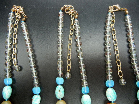 "5 Czech glass and wood bead necklaces 16 inch, Turquoise, lobster, 3""adj. zz 152"