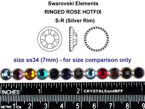 Swarovski Art.# 2029HF - Crystal Metallic Light Gold coated, Silver Rimmed HotFix Rhinestone Flatbacks, 7mm 34ss ss34