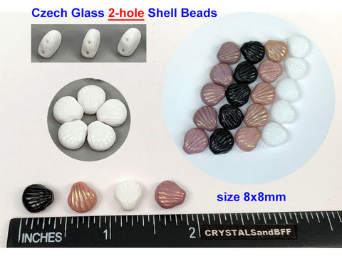 'Czech Glass Druk 2-hole Shell Beads 8x8mm Chalk White Purple Luster, 51 pieces, pressed, P333