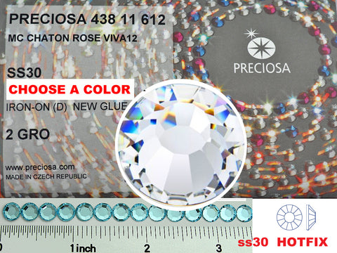 30ss HOTFIX, CHOOSE A COLOR, 288 pieces of Preciosa VIVA Iron-on Flatbacks, Genuine Czech Crystals in size 6.5mm, ss30