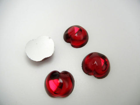 4 VINTAGE West German hand made fruit cabochons 20mm Cherry Siam Red clear #9 ii