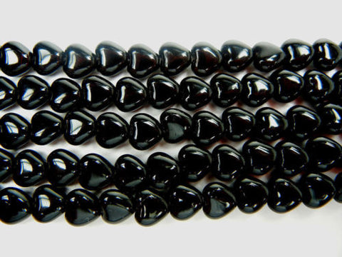 68 Czech glass Heart shaped druk beads 6x6mm Jet black color, strung