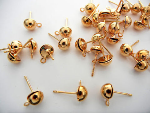 240 Earstuds Gold plated with surgical steel 6mm half ball post with loop zz 141