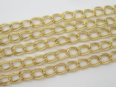 6 feet of continuous Steel Double Twisted Gold Plated Chain, Garlan USA zz 123