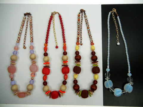 "4 Czech glass and wood bead necklaces 16 inch long, lobster w/3"" adjust., zz 151"