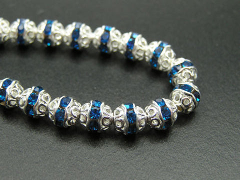 72 Preciosa Czech Rhinestone Filigree Bead Balls 6mm Capri Blue Silver Plated