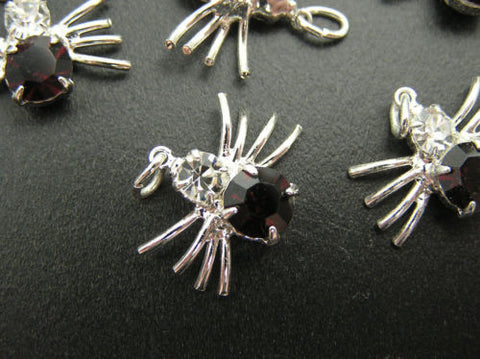 7 lucky spider charm pendants 13x16mm with Czech rhinestones clear & ruby,silver