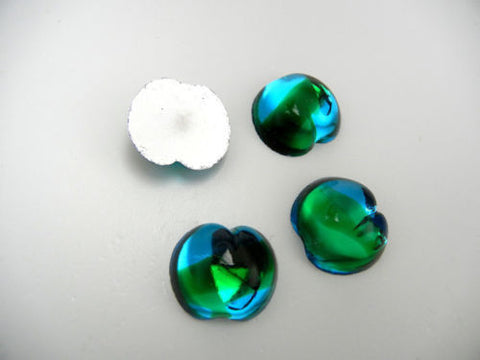 4 VINTAGE West German hand made fruit cabochons 20mm Apple 2tone Neptune clear #17 ii