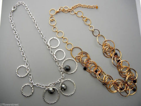 2 chain necklaces with Czech Glass beads, Silver and Gold plated, zz 117