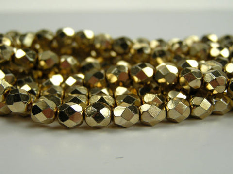 300 Czech quality Fire Polished Beads 6mm Apolo Aurum Gold coated