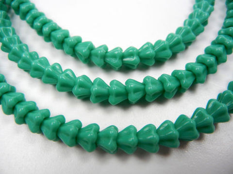 102 Czech glass bell flower druk beads 4x6mm Green Turquoise Opaque, 16 inch strand