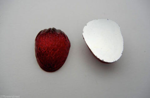 2 VINTAGE West German hand made fruit cabochons 27mm Large Strawbery Siam, red, #6 ii