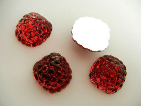 4 VINTAGE West German hand made fruit cabochons 20mm Raspberry Rose #12 ii