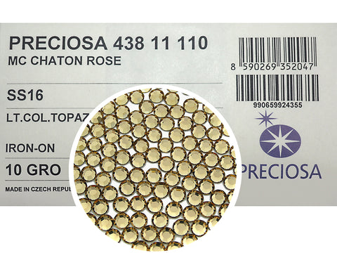 Light Colorado Topaz HOTFIX, 1440 Preciosa Genuine Czech Crystals 16ss 8ft Iron-on, ss16, 4mm, light brown