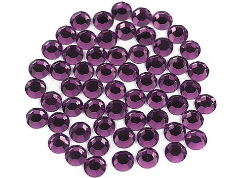 Amethyst, Preciosa 8-faceted Chaton Roses Article 438-11-110 (8-ft Rhinestone Flatbacks), Genuine Czech Crystals, purple