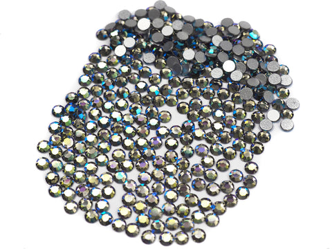 Black Diamond AB, Preciosa 8-faceted Chaton Roses Article 438-11-110 (8-ft Rhinestone Flatbacks), Genuine Czech Crystals, grey coated with Aurore Boreale