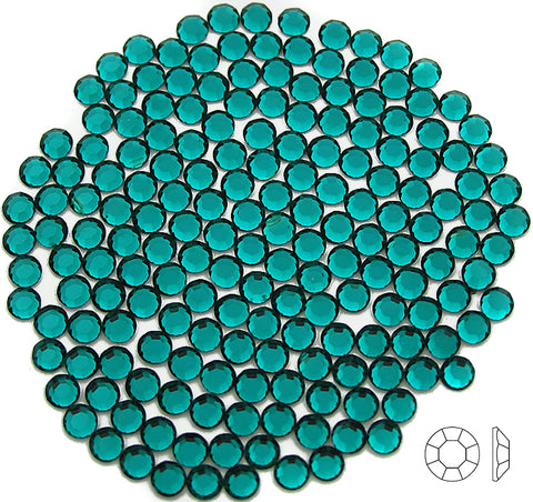 Blue Zircon, Preciosa 8-faceted Chaton Roses Article 438-11-110 (8-ft Rhinestone Flatbacks), Genuine Czech Crystals, green