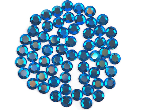 Capri Blue AB, Preciosa 8-faceted Chaton Roses Article 438-11-110 (8-ft Rhinestone Flatbacks), Genuine Czech Crystals, blue coated with Aurore Boreale
