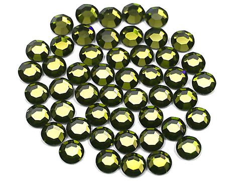 Olivine, Preciosa 8-faceted Chaton Roses Article 438-11-110 (8-ft Rhinestone Flatbacks), Genuine Czech Crystals, olive green