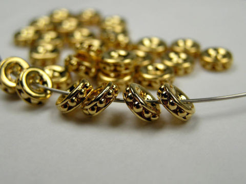 24 Vintage Czechoslovakian metallic rondelles in size 6mm, Gold on Gold plated, UNIQUE spacers