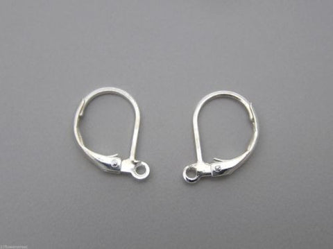 100 Earwire lever back with open loop, 13x10mm, Silver plated, Euro Wire, zz 130