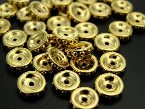 24 Vintage Czechoslovakian metallic rondelles in size 8mm, Gold on Gold plated, UNIQUE spacers