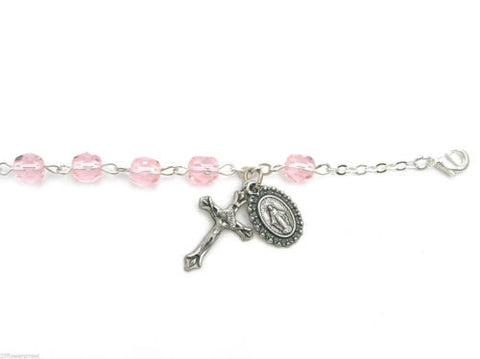 12 fine quality Czech Bracelet Auto Rosaries Fire Polished Pink Light Rose, rosary