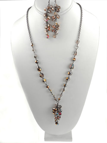 Czech Glass Long Cascading Cluster Pear Shaped Santander Handmade Necklace