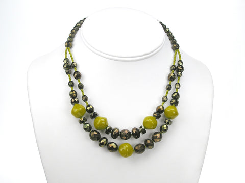 15.5 Inch Handmade Olive Green Metallic Czech Glass 2-Row Necklace