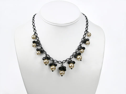 16 Inch Handmade Gold and Black Czech Glass Beads Dangle Necklace