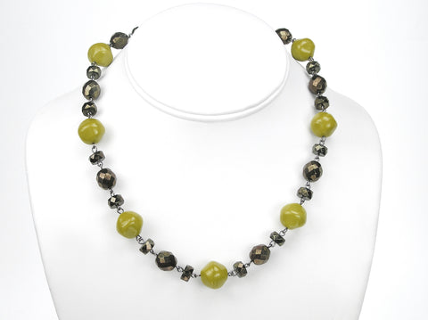 15.5 Inch Handmade Olive Green Metallic Czech Glass Bead Linked Necklace