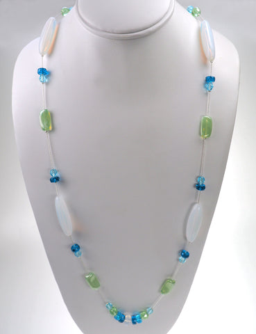 34.5 Inch Handmade Light Combo Glass Bead Necklace