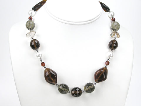 18 Inch Handmade Czech Glass Bead Smoked Topaz Linked Necklace