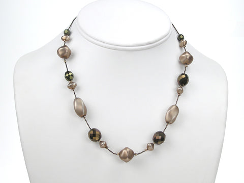 16 Inch Handmade Czech Glass Matted Pearl Illusion Bronze Metallic Necklace