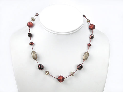 16 Inch Handmade Czech Glass Matted Pearl Illusion Copper Metallic Necklace