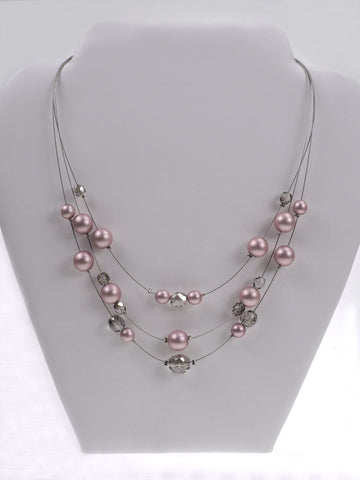 16 Inch 3-Row Handmade Czech Glass Powder Rose Pearl Necklace