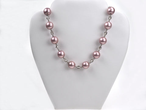 15 Inch Handmade Czech Glass Powder Rose Pearl Necklace