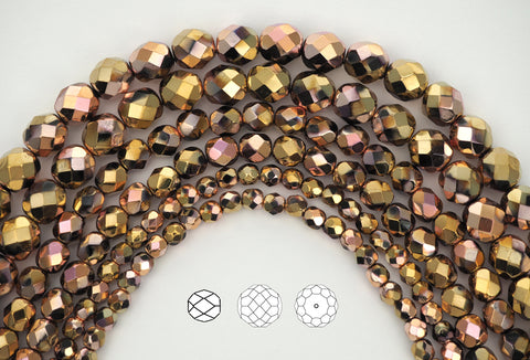Jet California Pink coated, loose Czech Fire Polished Round Faceted Glass Beads