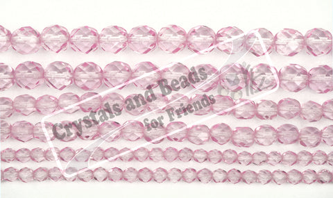 Crystal Pink Shimmer coated, loose Czech Fire Polished Round Faceted Glass Beads