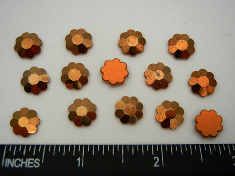 Swarovski Art.# 2700 - 12 Vintage Swarovski flower flatbacks #2700, 10mm Crystal Aurum Comet OR, 24 carat Gold coated